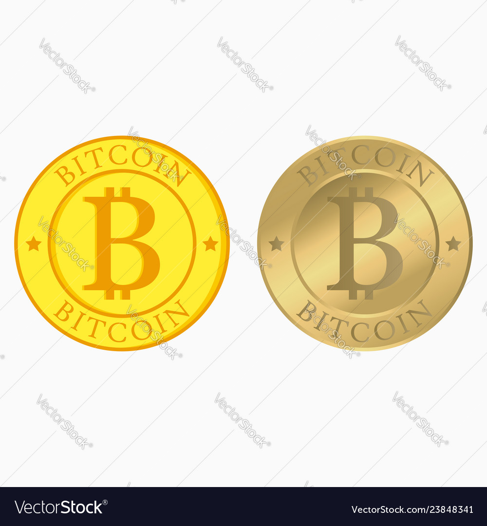 Bitcoin set with flat and realistic gold coins