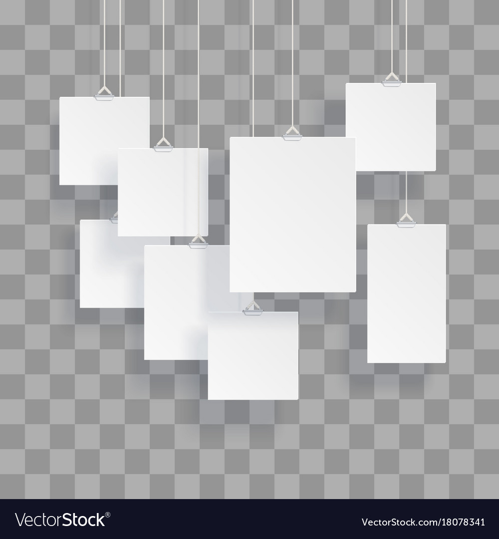 Blank hanging photo frames or poster templates Vector Image