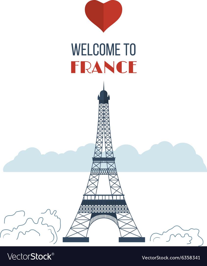 Flat design Paris France with Eiffel tower