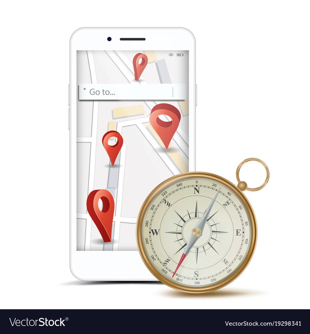 Gps app concept navigation travel vector image