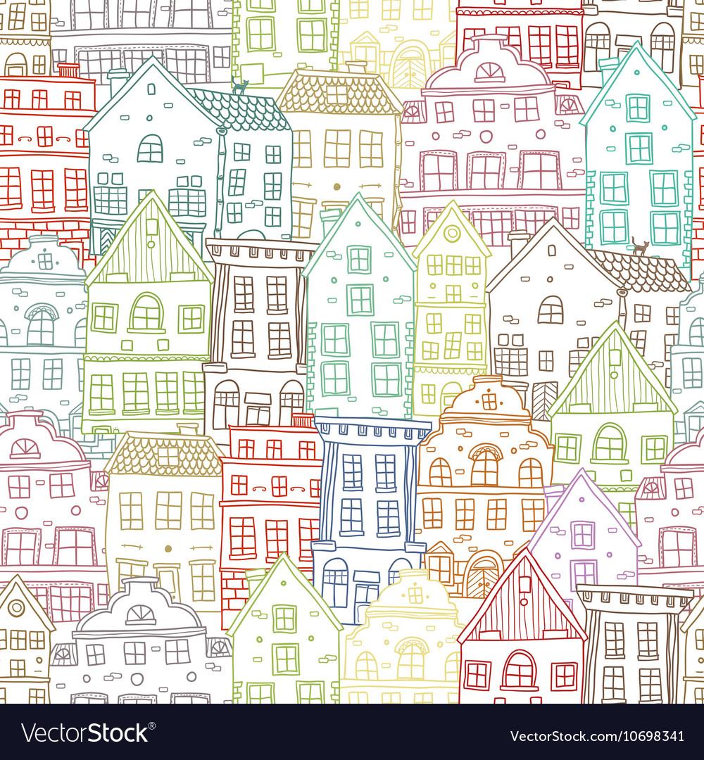 Hand Drawn Houses Seamless Pattern