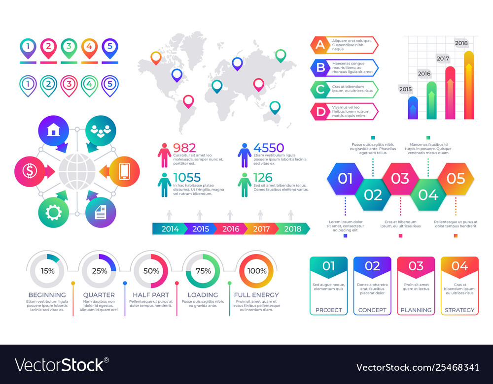 Infographic chart timeline graph elements with