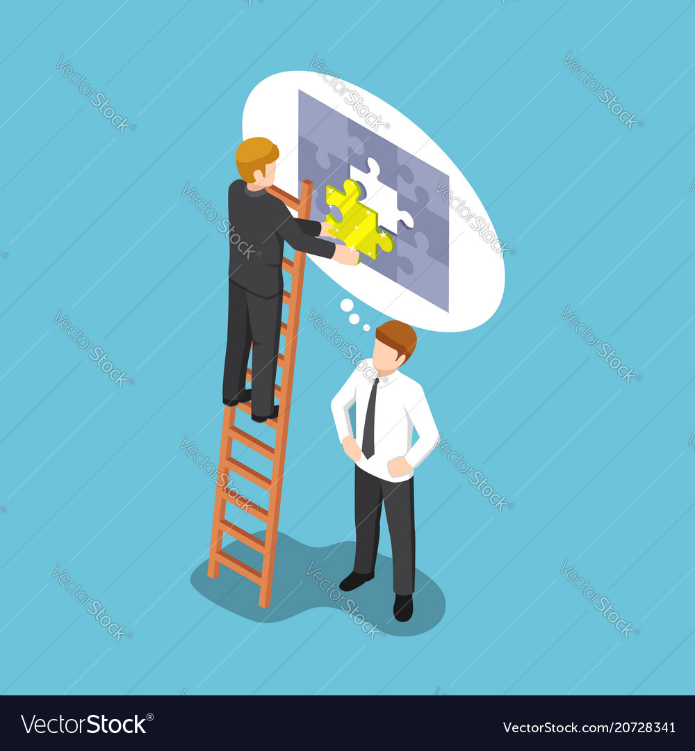 Isometric businessman assembling last piece of vector image