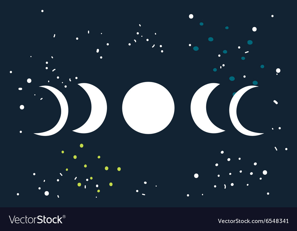 Lunar eclipse Moon phases circle with stars space