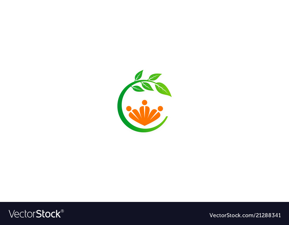 People organic green leaf logo