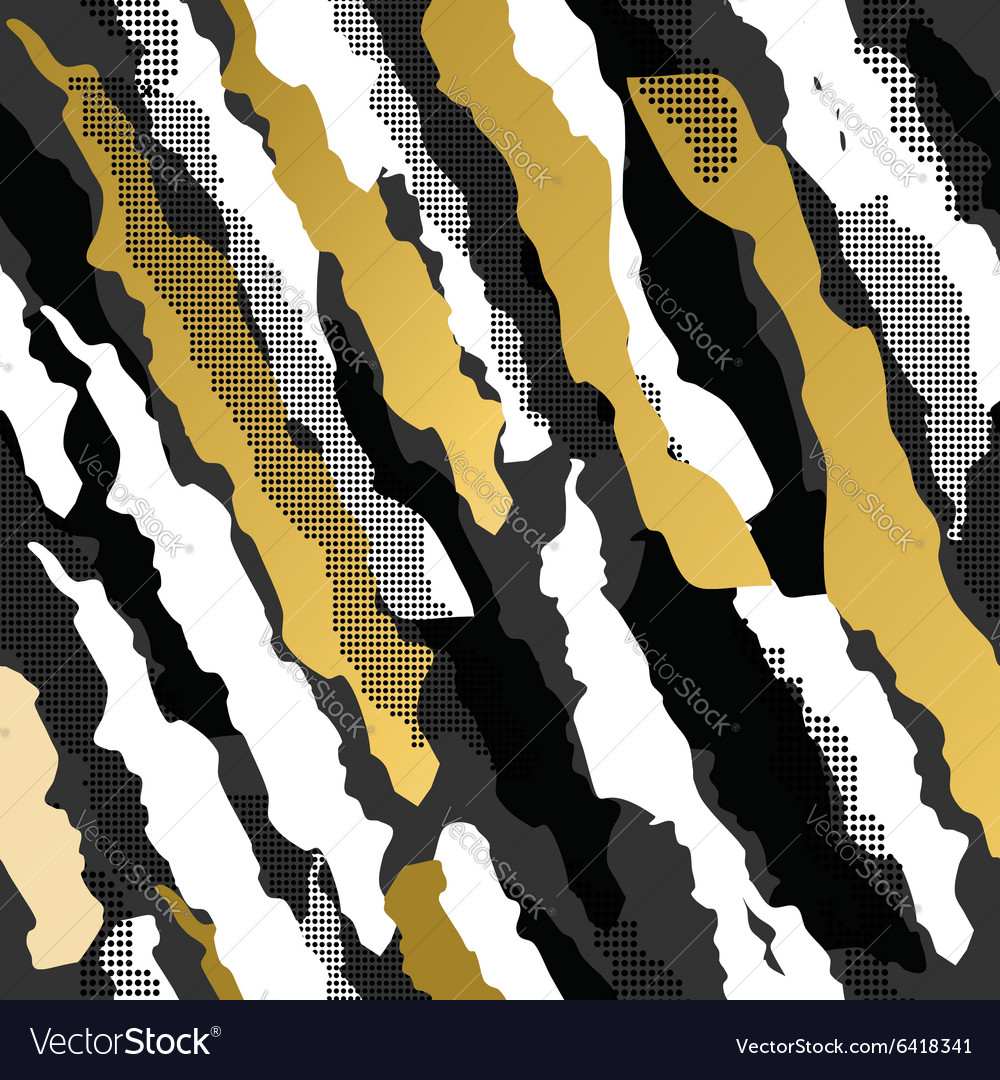 Retro 80s 90s abstract shape pattern gold fancy
