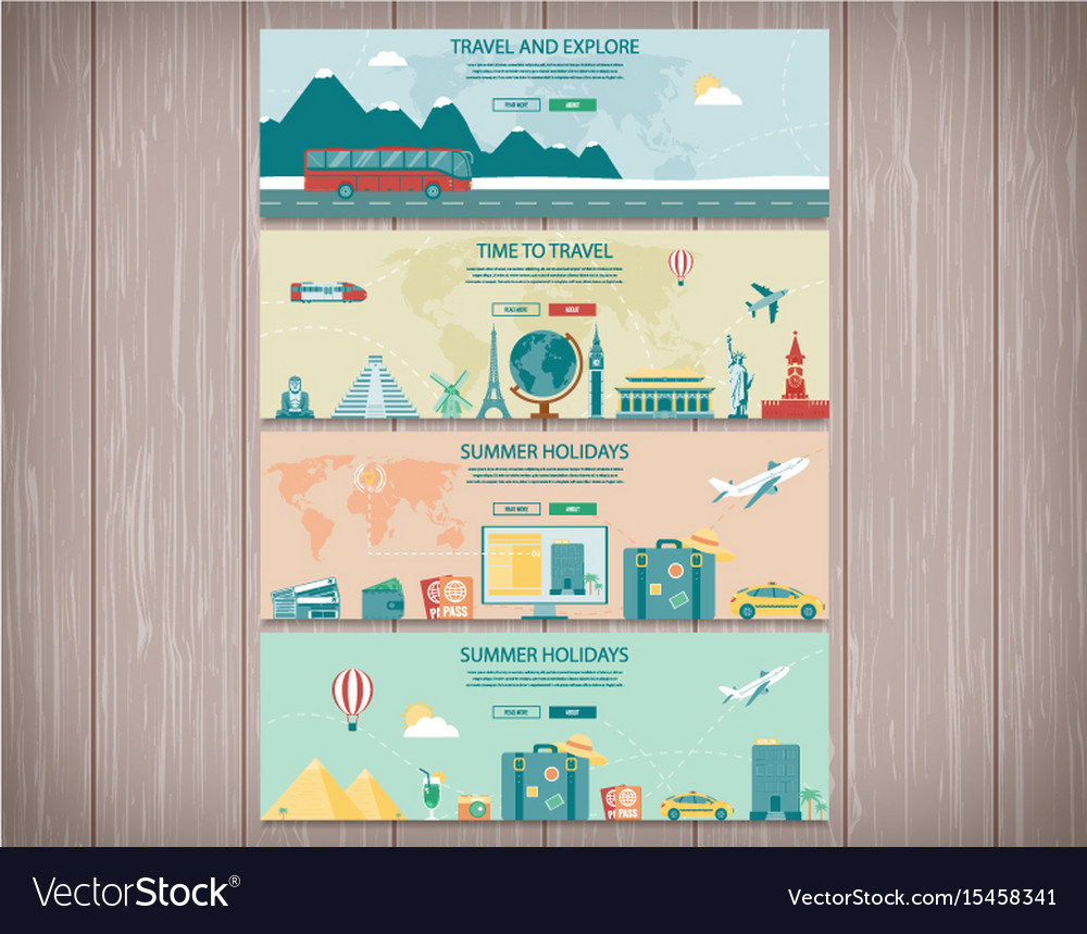 Travel And Tourism Web Banners Concept Website Vector Image