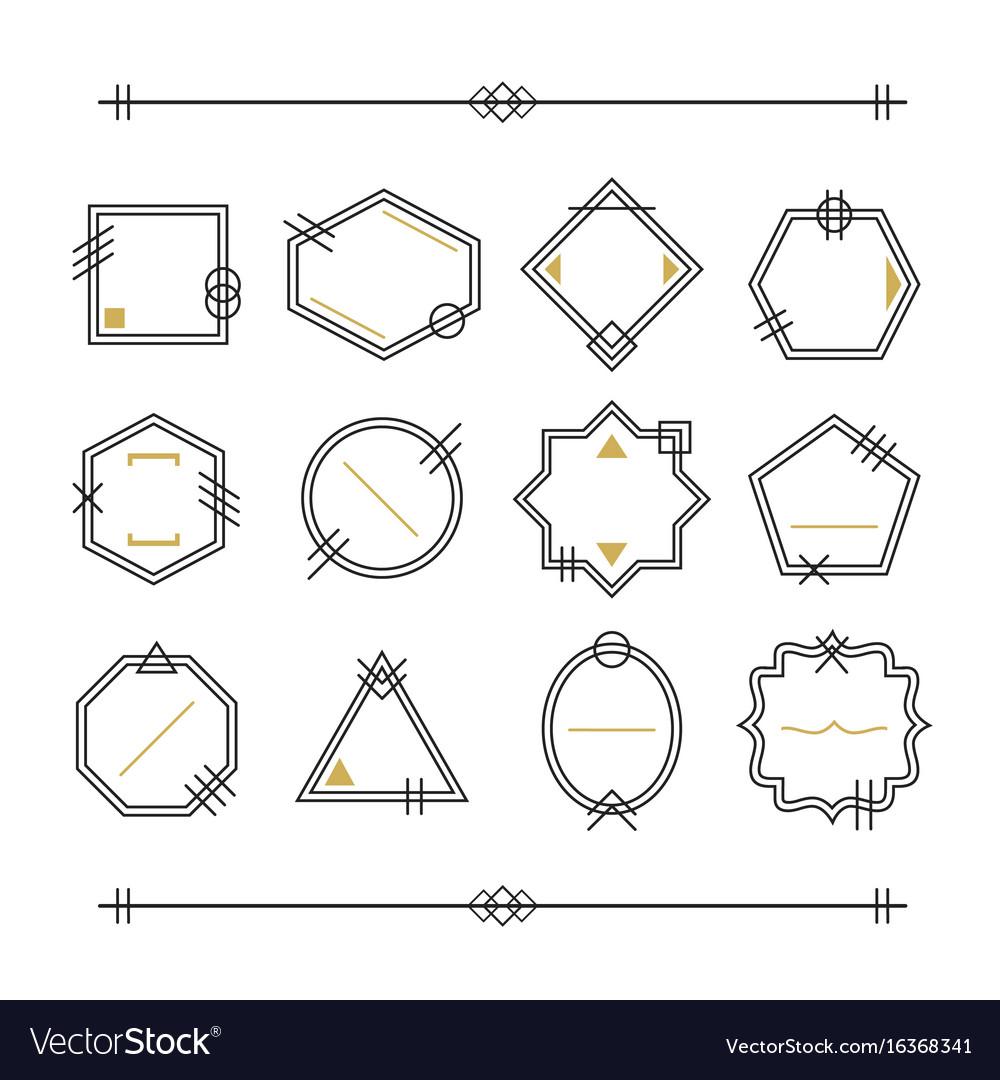 Trendy black and golden empty line blank emblems