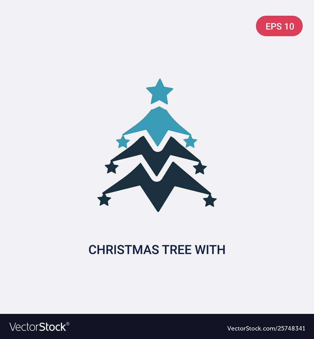 Two Color Christmas Tree With Star Icon From Vector Image