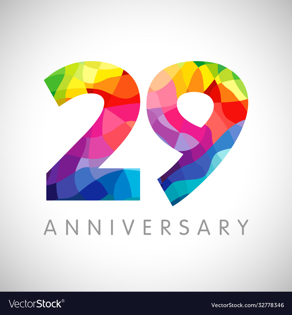 29 anniversary colorful facet logo