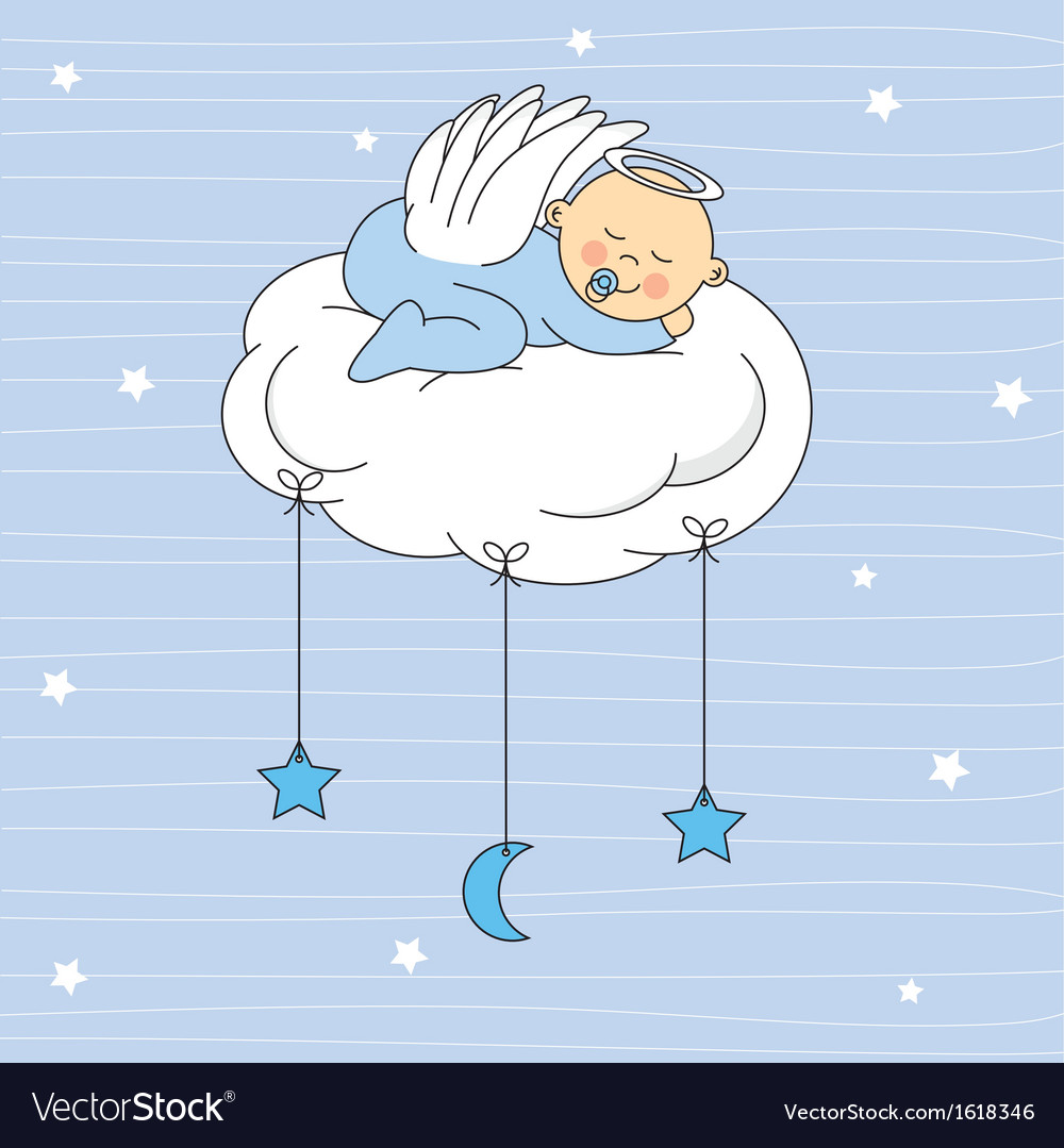 Baby boy sleeping on a cloud