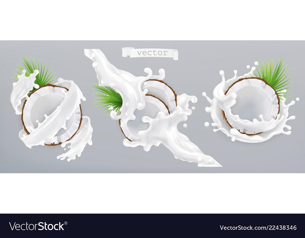 Coconut and milk splash 3d realistic icon