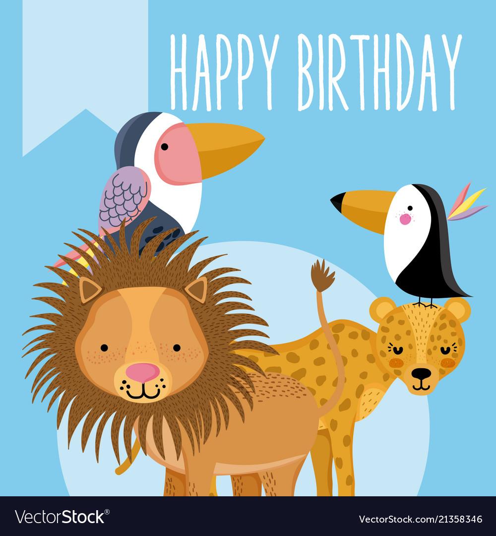 Happy Birthday Cute Animal Card Royalty Free Vector Image