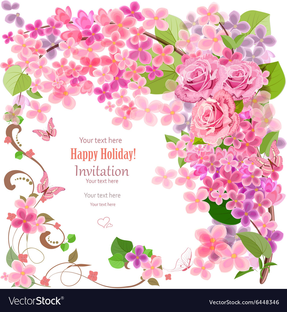 Lovely invitation card with flowers and butterfly