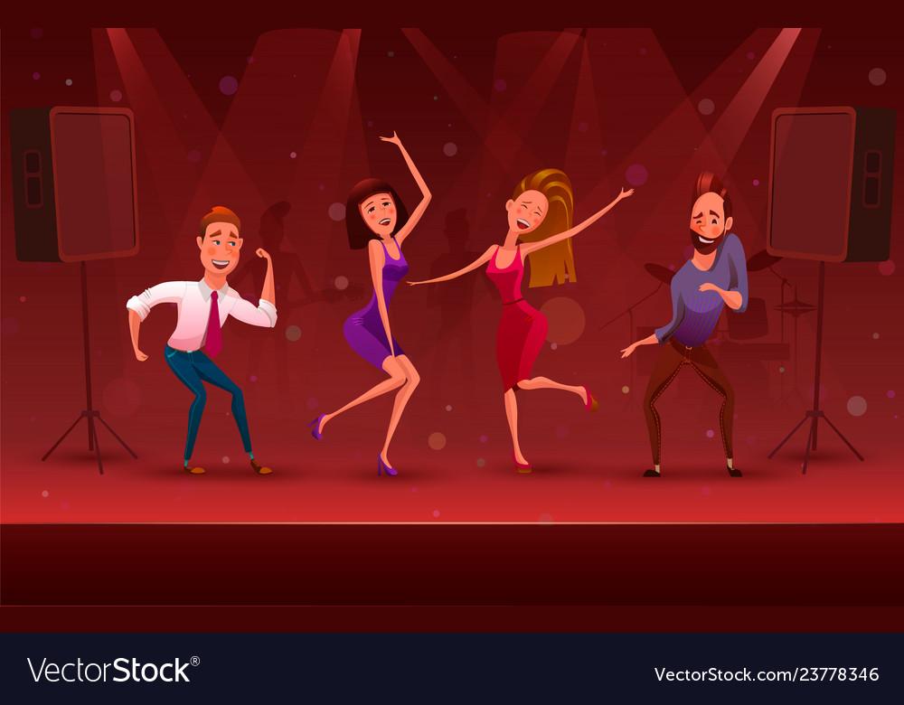 Nightclub disco party modern dancing cartoon