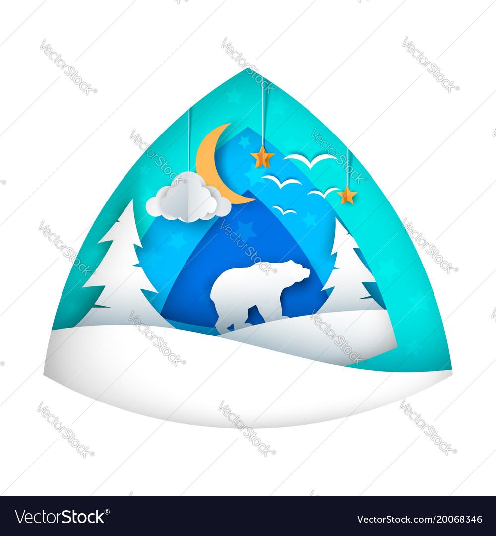 Polar bear cartoon bear moon cloud