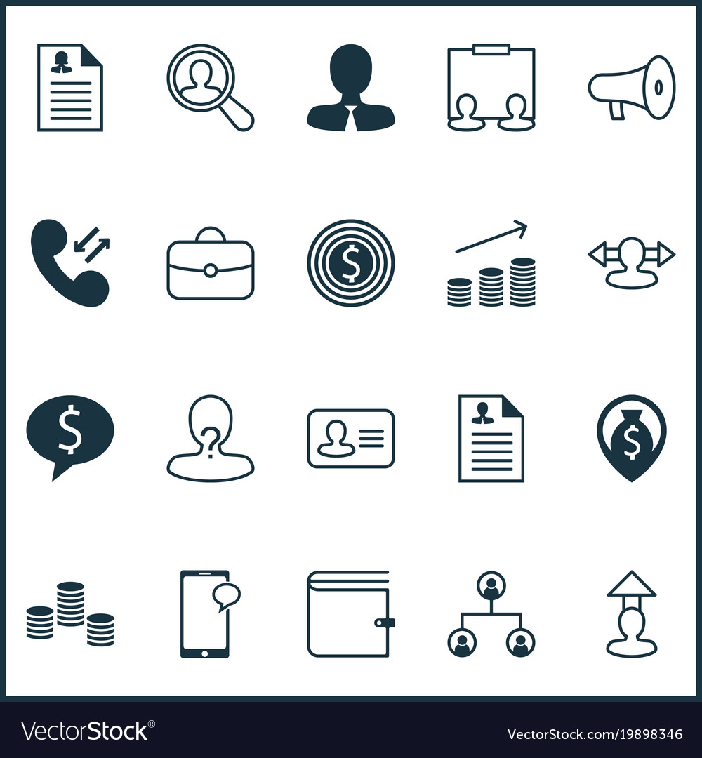 resources icons set with curriculum vitae vector image