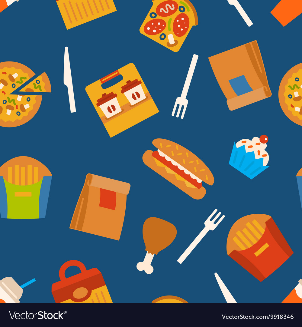 Seamless Pattern With Fast Food Symbols Royalty Free Vector