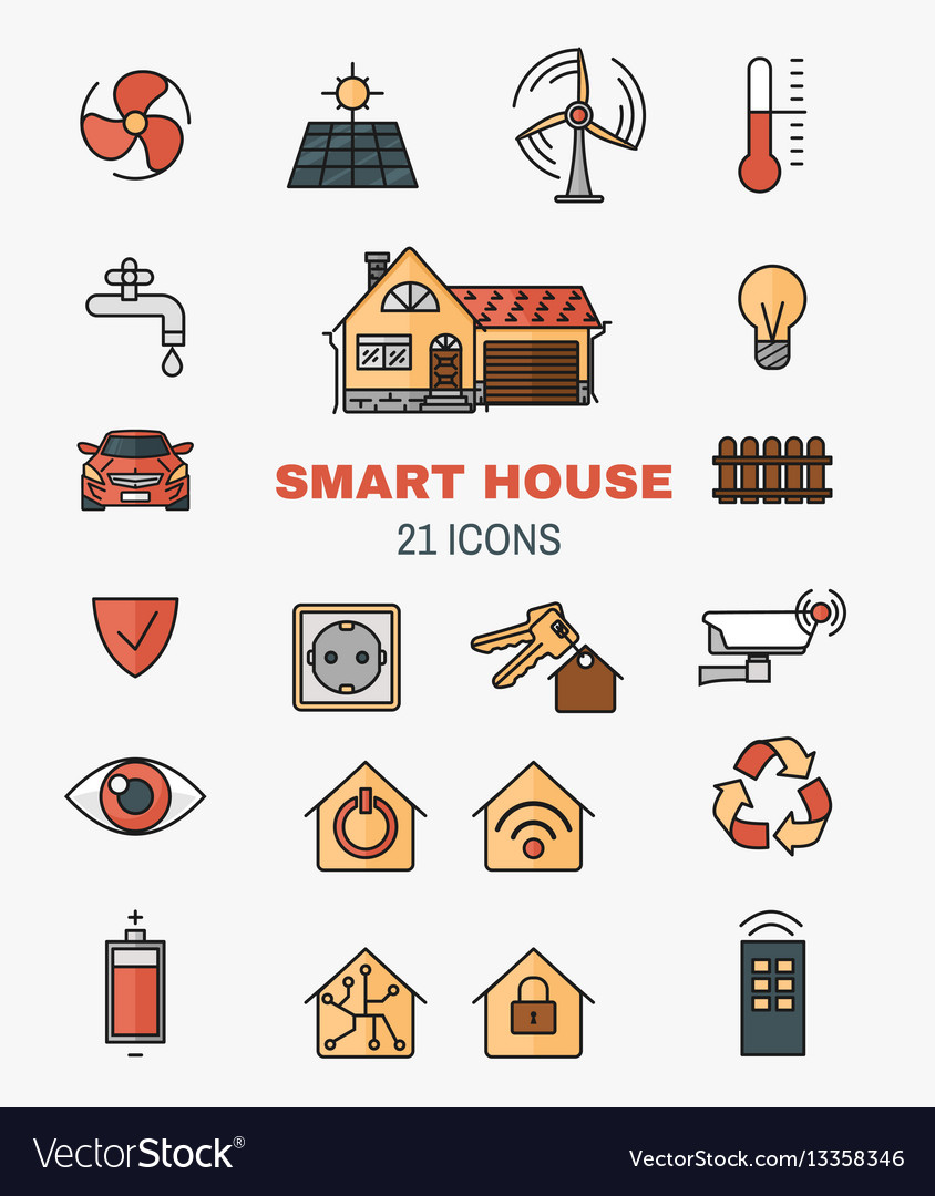 Set line art icons of the smart home