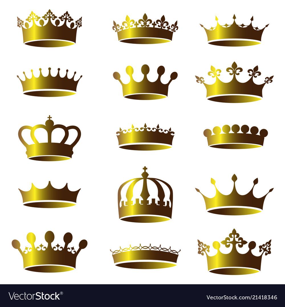 Set vintage golden crown icons