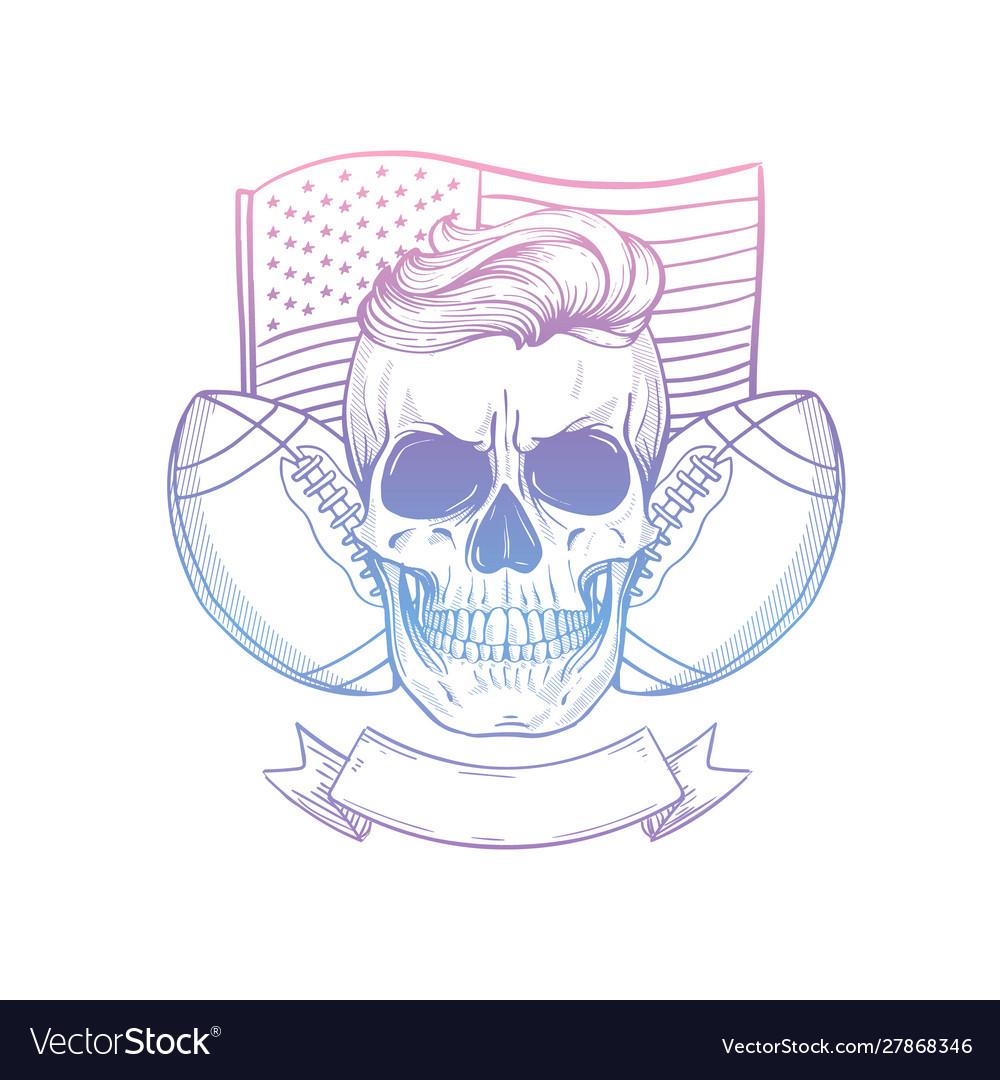 Sketch skull american football player