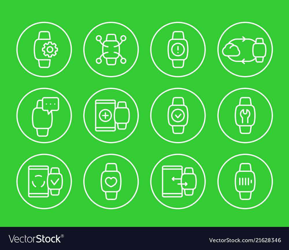 Smart watch wearable devices linear icons set