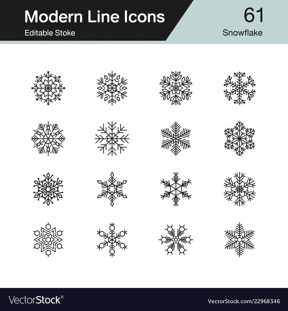 Snowflake icons modern line design set 61 for