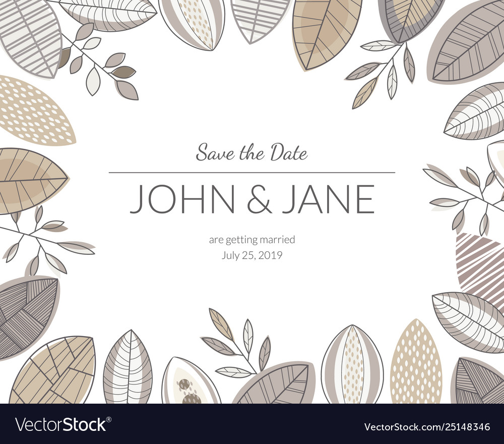 Wedding invitation card with forest leaves floral