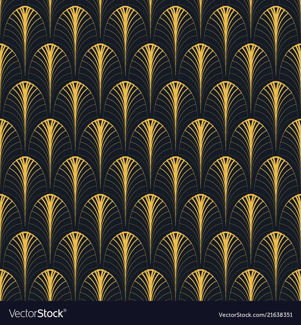 Art deco seamless pattern gold on black