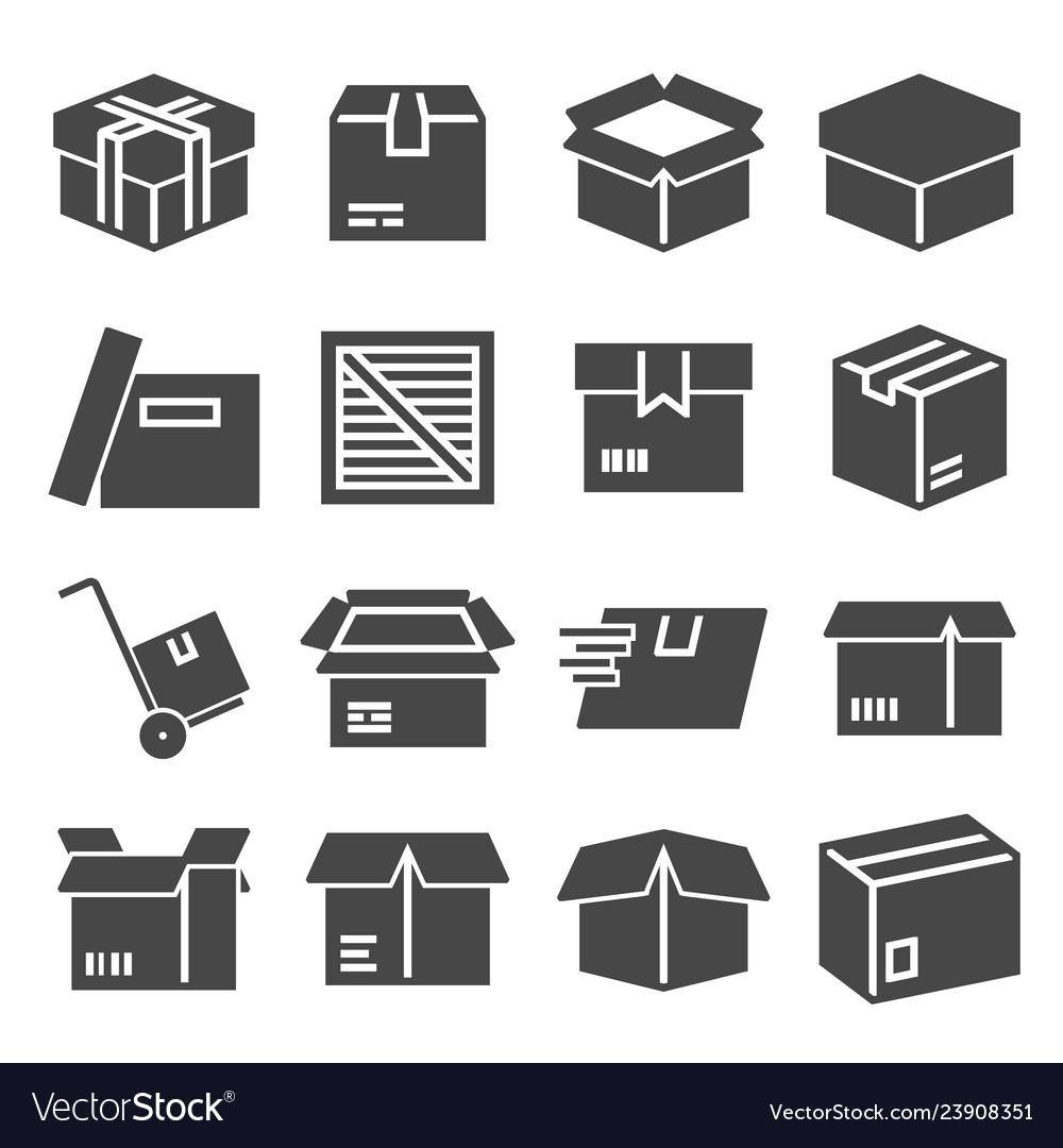 Box package parcel delivery logistics icon set