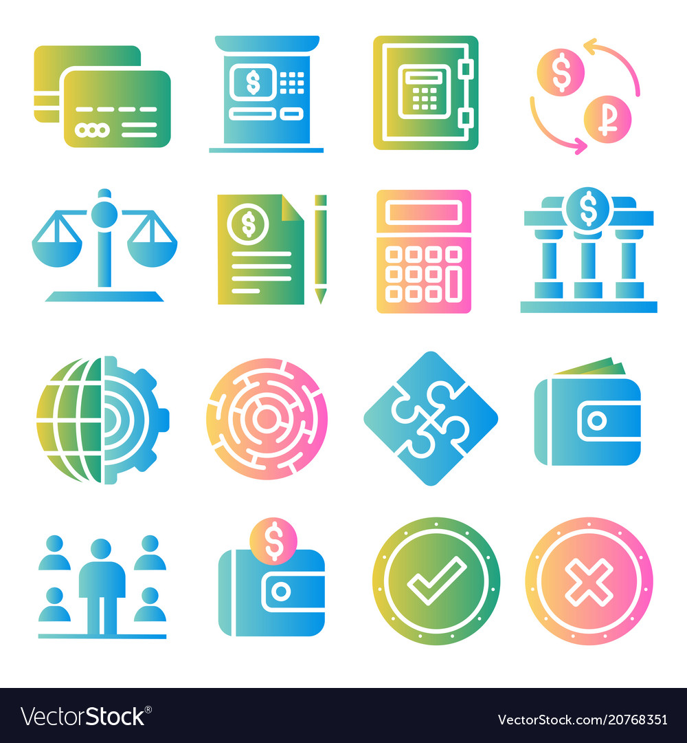 Business and finance color icons set