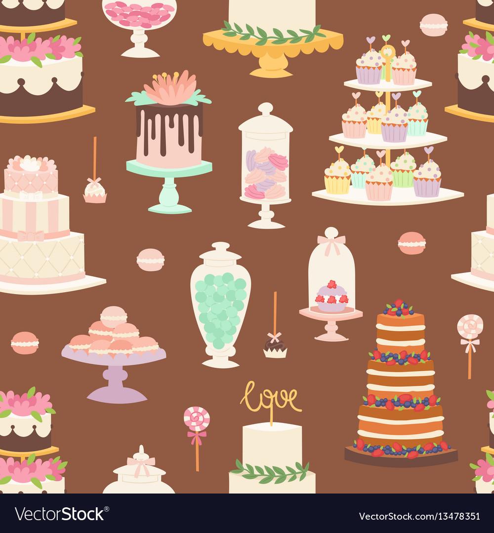 Cakes cartoon style seamless pattern
