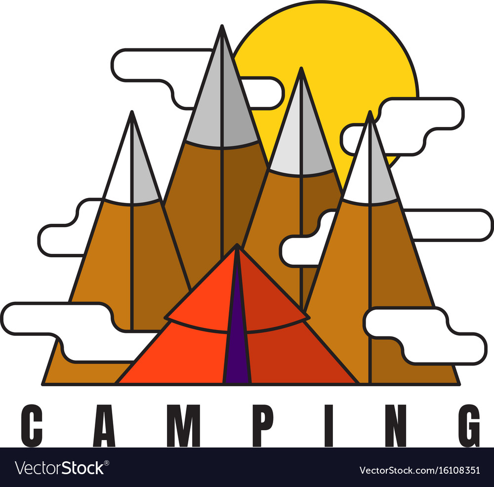Camping in mountains logo in flat style tent vector image