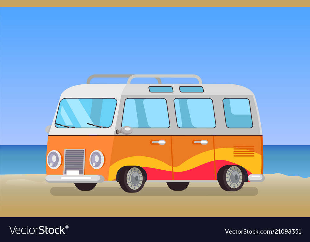 Caravan trailer travelling bus coastline backdrop vector