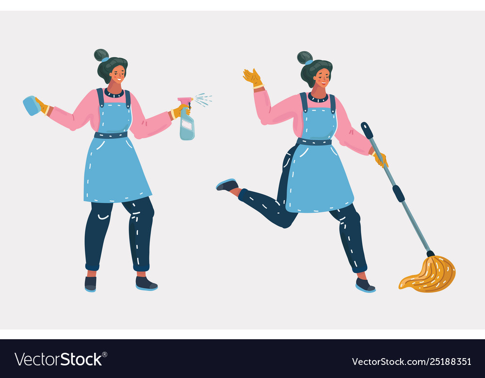Cleaners ready for cleaning with enthusiasm