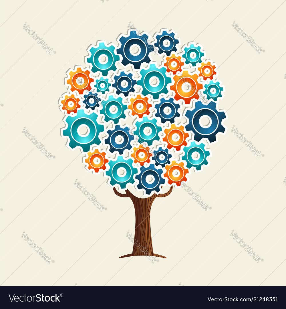 Cog wheel tree concept for teamwork solution