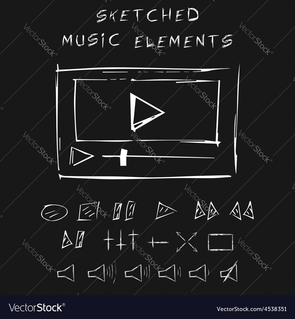Doodle music elements set sketch design