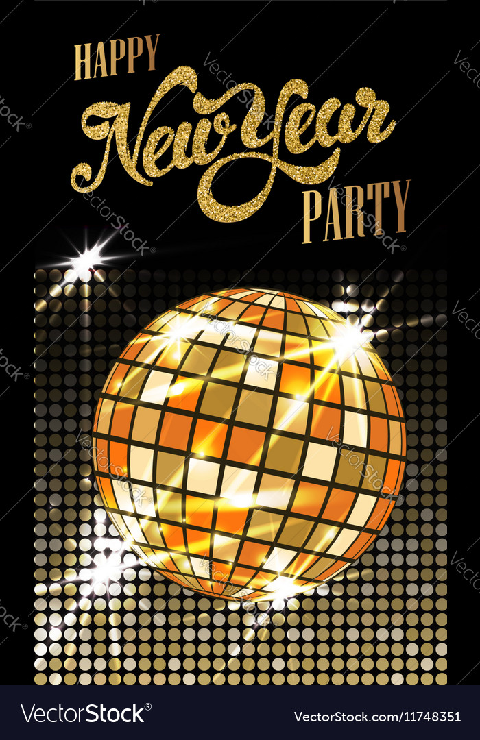 Fashion new year party poster with gold sparkles