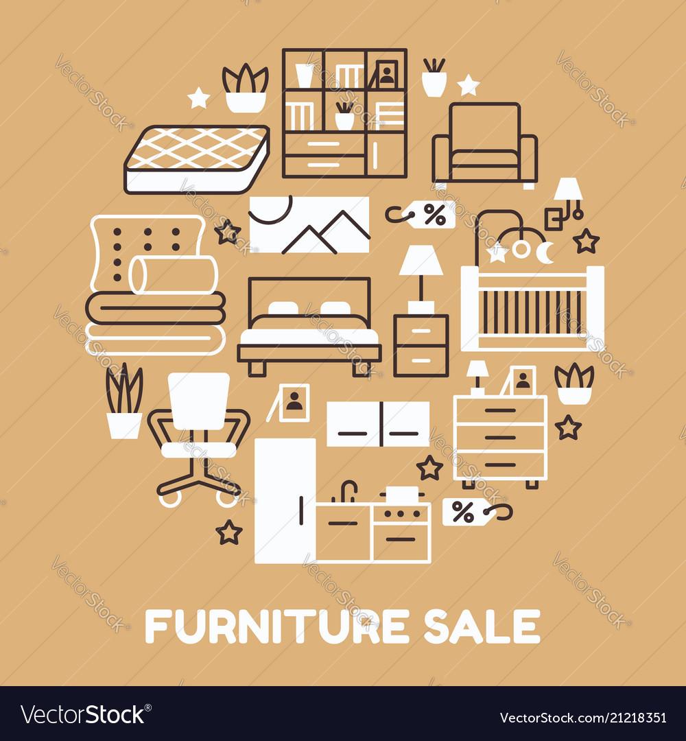 furniture sale banner. Furniture Sale Banner With Flat Line Vector Image Furniture