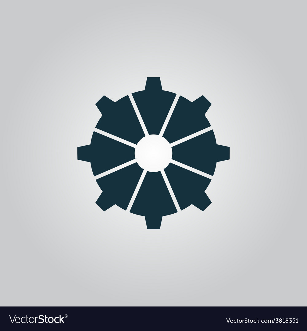 Gear icon Flat design style