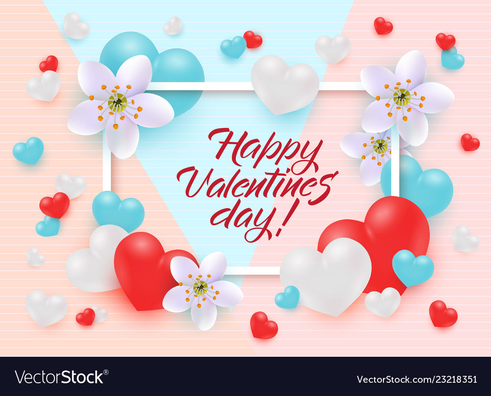 Happy valentines day greeting card or banner with