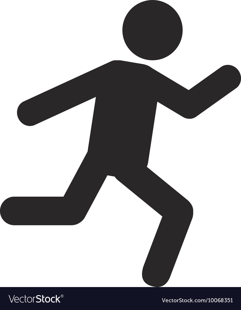 Person running silhouette icon vector image