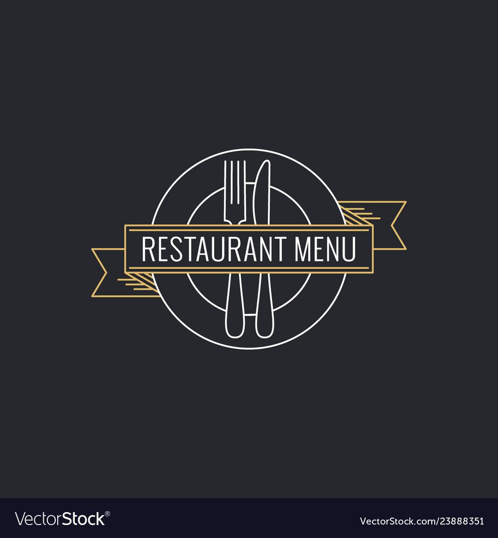Restaurant menu concept plate with fork knife