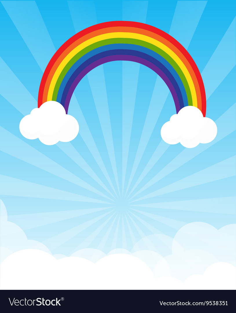 Sunburst and blue sky and rainbow background with vector image
