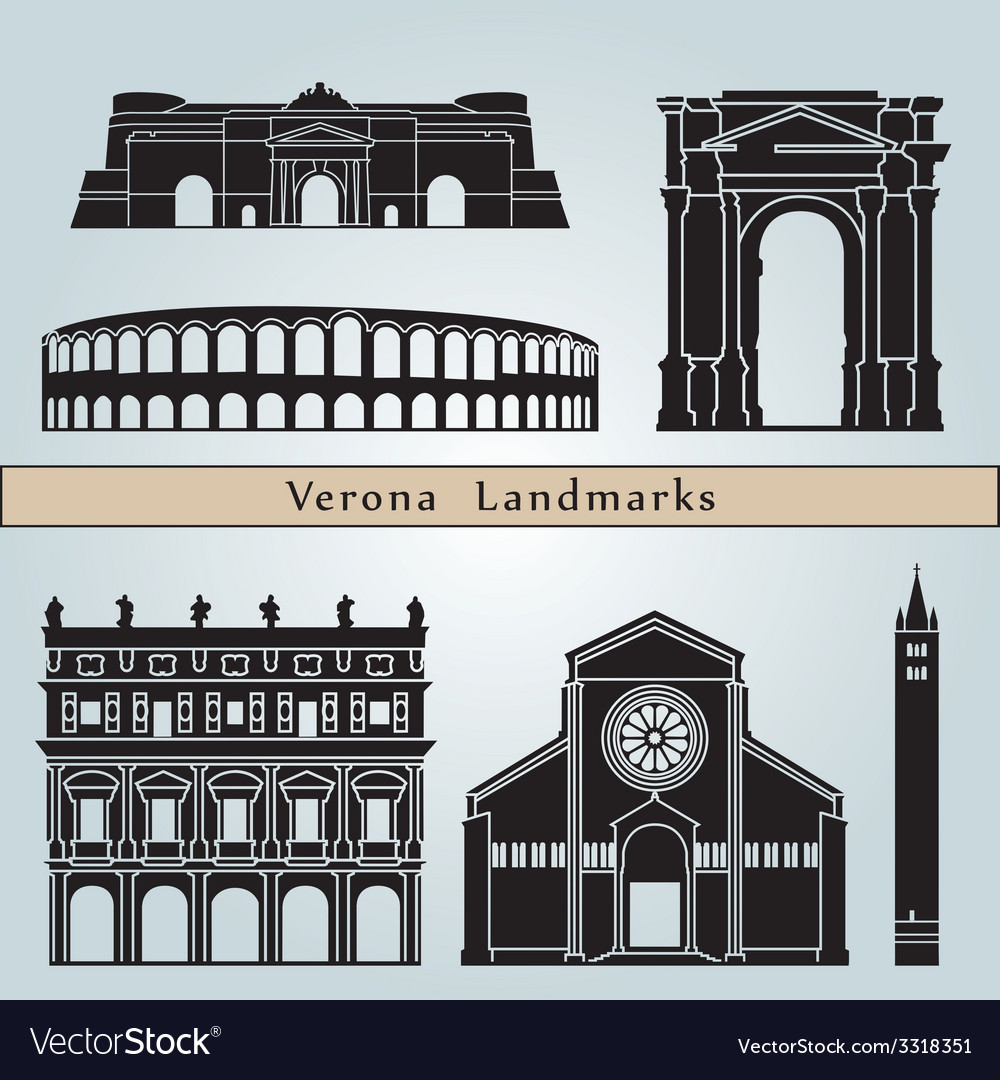 Verona landmarks and monuments vector image
