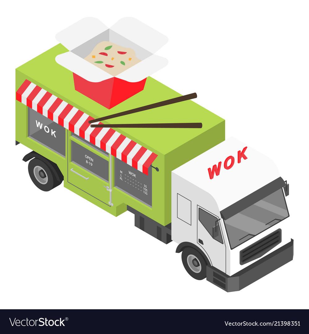 Wok shop truck icon isometric style