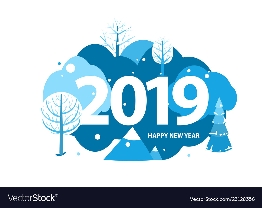 2019 happy new year greeting card winter holiday