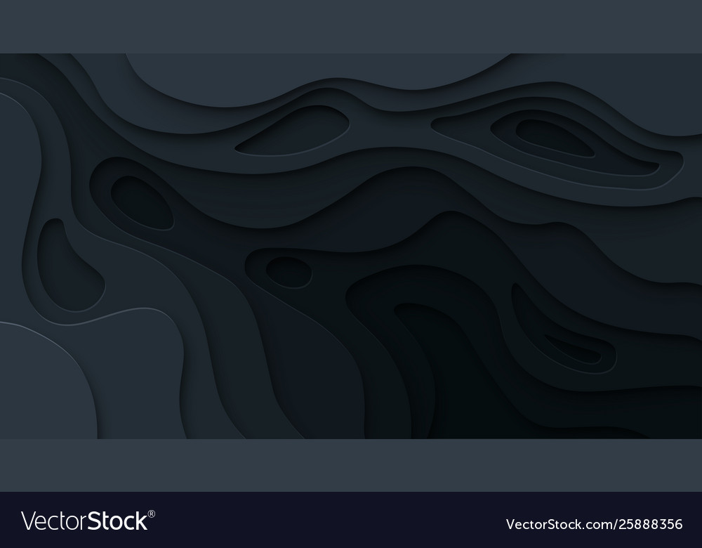 Abstract paper cut black background topographic