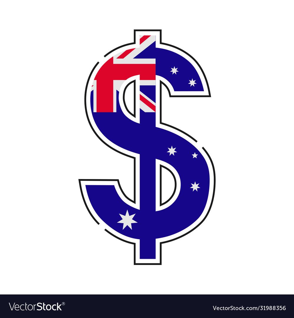 Australian dollar symbol with a flag icon