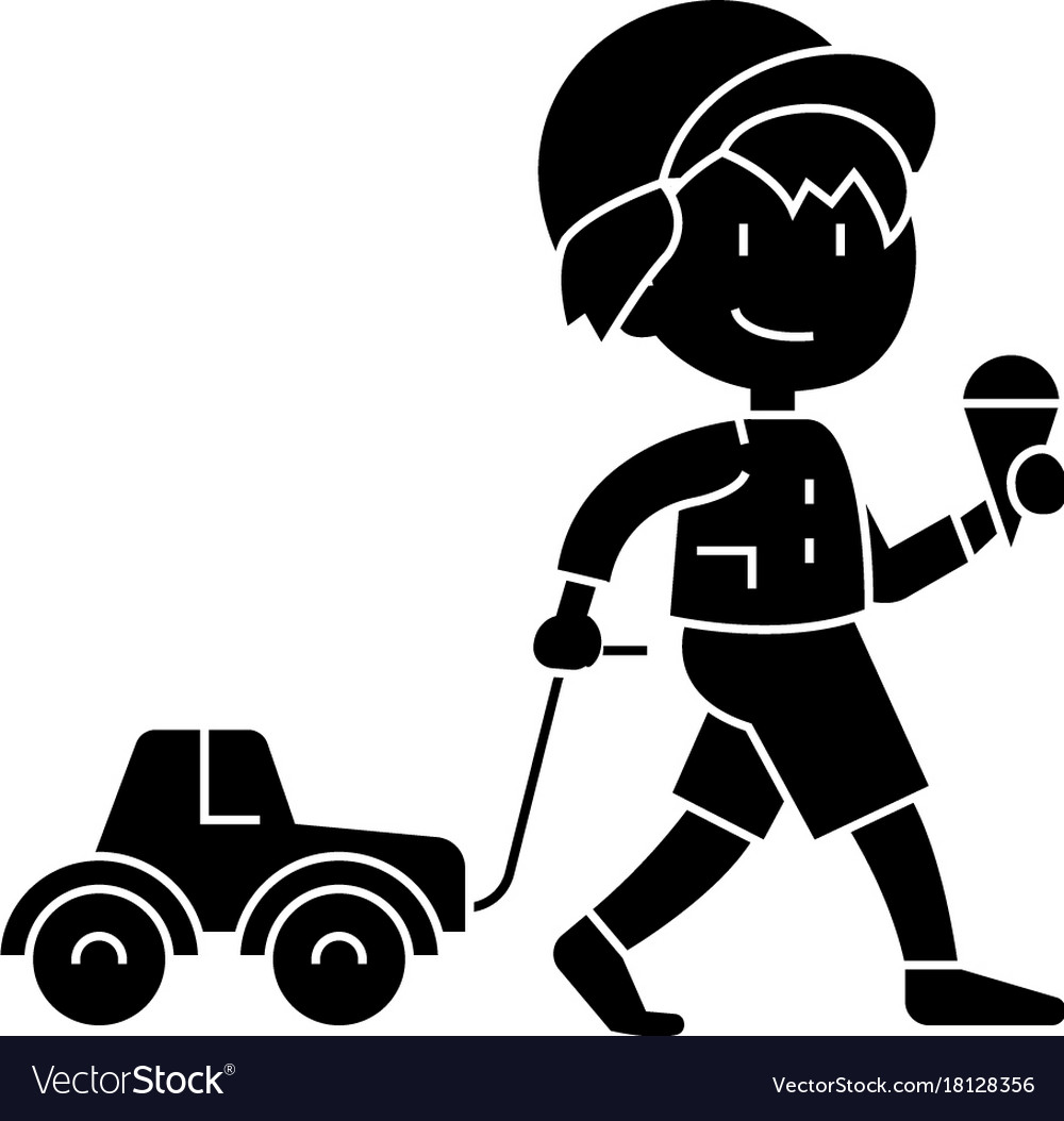 Boy child with ice cream with car toy icon